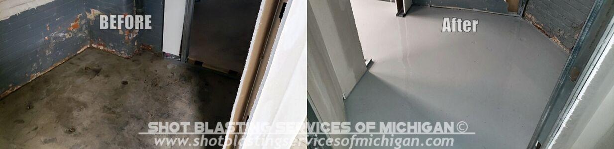 Shot Blasting Services Michigan Grey Epoxy Commercial Basement Floor 03 2020 01 01-horz