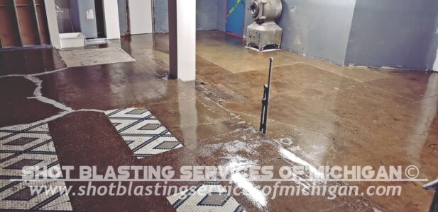 Shot Blasting Services Michigan Grey Epoxy Commercial Basement Floor 03 2020 01 04